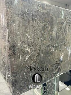 Mirrored Crushed crystal table lamp with Grey marble shade, Glitz table lamp