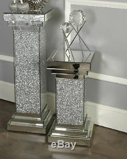 Mirrored Glass Stand Glitter Crushed Lamp Table Side Living Room Furniture