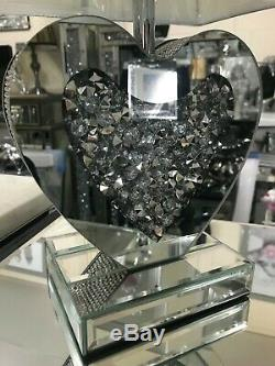 Mirrored Love Heart Table Lamp with diamante detail, silver lamp