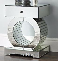 Mirrored Side Table Venetian Glass Furniture Pedestal Plant Stand Small End Lamp