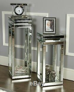 Mirrored Square Side Table Lamp Living Room Table Tall Pedestal Stand