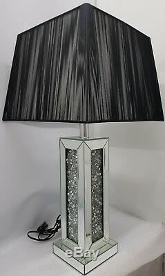 Mirrored Table Lamp Sparkly Silver Diamond Crush Choice of Black or White Shade