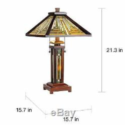 Mission Table Lamp 2 Light Lit Base Tiffany Style Craftsman Stained Glass Chain
