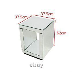 Modern Rectangle Mirrored Side Lamp Table Silver Storage Bedside Table Home UK