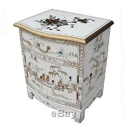 Mother Of Pearl Oriental Furniture White Lacquer Lamp Table