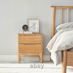 Murong Solid Oak Bedside Table Cabinet Wooden Nightstand End Lamp With 2 Drawer
