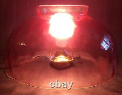 NEW 14 Cranberry Dot Optic Hanging Table Glass Oil Lamp Dome Shade -Made in USA
