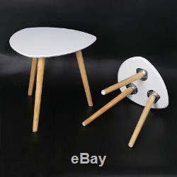 NEW BNS 3pcs White Wood Nest of Tables Modern Coffee Tea Lamp Nested Side Table