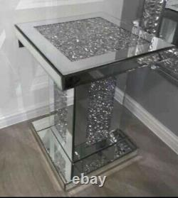 NEW Sparkly Silver Crushed Diamante Crystal Mirrored Pedestal End Lamp Table UK