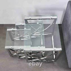 Nest of Tables Clear Glass Chrome 3-Pec Lamp Side End Coffee Table Set Tea Table