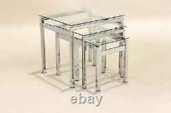 Nest of Tables Clear Glass Chrome Three Piece Lamp Side End Coffee Table Set