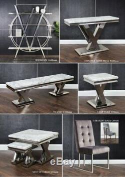 New Cello Grey Marble & Chrome Lamp Table