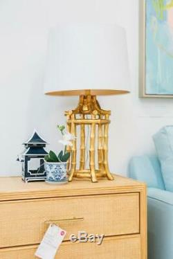 New HORCHOW Chinoiserie GOLD BAMBOO Table Buffet PAGODA LAMP + SHADE