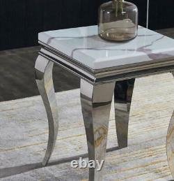 New Louis White Marble Lamp Side End Table