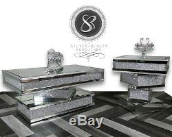 New Stunning Glittery coffee Tables Silver Mirrored Glass crushed Diamond finish