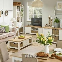 Off White Cream & Oak Country Lamp Side End Table With Basket Storage