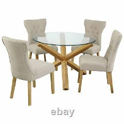 Oporto Saturn Solid Oak and Glass Dining Table Round 107cm or 120cm Available