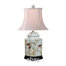 Oriental Chinese Porcelain Floral Bird Scallop Ginger Jar Table Lamp 22