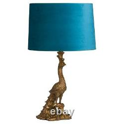 PEACOCK TABLE LAMP with Teal blue velvet shade resin gold bronzed tone