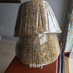 POOKY LAMPSHADES A Pair of fine Cotton Pleated cream Lined Shades