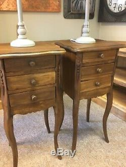 Pair French Style Wooden Bedside /lamp Tables Mid Oak Wax Antique Finish