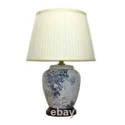Pair of Chinese Ceramic Rounded Lamps with Shades Japanese Wave 51cm