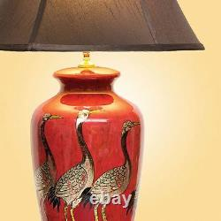 Pair of Chinese Table Lamps with Shades Red + Golden Cranes Pattern