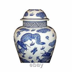 Pair of Chinese Tall Jar Table Lamps with Shades Blue Dragons