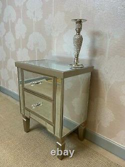 Pair of Georgia LUXE Champagne Mirror Chest 2 Drawers Bedside Cabinet Lamp Table