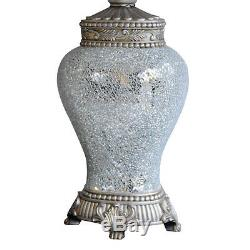 Pair of Large Table Lamps Silver Sparkle Mosaic Base Taupe Fabric Shade 79cm