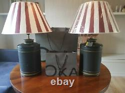 Pair of NEW Oka camellia table lamps RRP £450