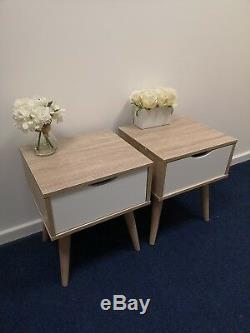Pair of Scandinavian Style Bedside Tables Nordic Lamp Retro Side Cabinet