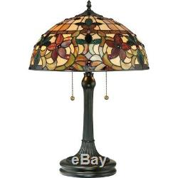 Quoizel 2 Light Kami Tiffany Table Lamp in Vintage Bronze TF878T