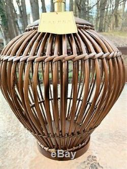 RALPH LAUREN Rattan Table Lamp Hollow, Round With Intricate Weaving, Wood Base