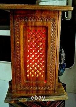 ROSEWOOD Beautiful Wooden Hand Carved Tower Shape D-1 Table Lamp-15 X 15 X 22 CM