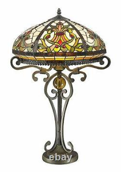 Real Stained Glass Handcrafted Large Tiffany Style Table Lamp 16 Wide