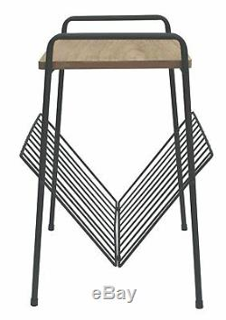 Retro Black Metal Lamp Side Coffee End Table With Wood Top Magazine Rack Table