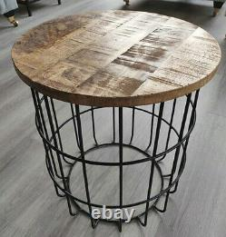 Round Industrial Side Table Coffee Tea Lamp Plant Stand Vintage Retro Furniture