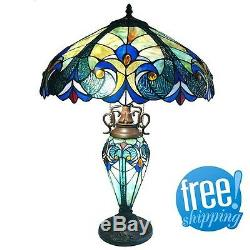 Round Table Lamp Tiffany Style Stained Glass Lit Base 2 Light Vintage Beige Blue