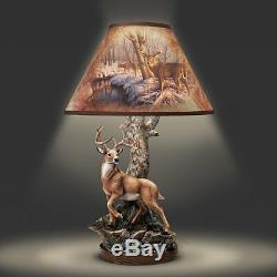 Rustic Deer Forest Table Lamp 10 Point Buck Statue Sculpture Light Lamps NEW
