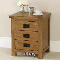 Rustic Oak 3 Drawer Bedside Lamp Table Cabinet Side Nightstand Chest Unit RS01