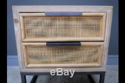 Rustic White Washed Wooden Rattan Wicker Bedside Cabinet Lamp Table Dx6857