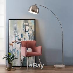 SOLD OUT Versanora Arquer Arc Floor Lamp With Marble Base, Nickle Finished Shade