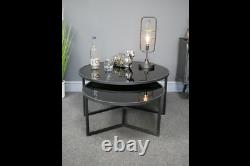 Set Of 2 Industrial Coffee Tables Round Metal Nesting Lamp Unit Black Glass Tops