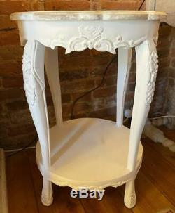 Side Table / Lamp Table White Shabby Chic / French Country Solid Wood