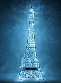Silver Metal Paris Eiffel Tower France LED Crystal Diamante Gem Jewel Table Lamp