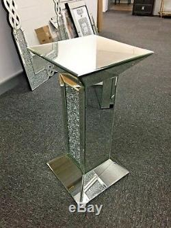 Silver Sparkling Crushed Diamond Glitz Crystal Mirrored Pedestal End Lamp Table