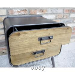 Small 2 Drawers Bedside Chest Lamp Table Retro Industrial Style Storage Cabinet
