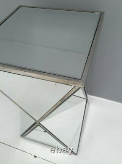 Small Mirrored Side Table Plant Lamp Stand Antique Silver End Venetian Pedestal