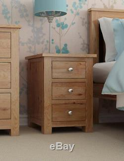 Small Oak Bedside Table Narrow Side/Lamp Nightstand Solid Wood Cabinet